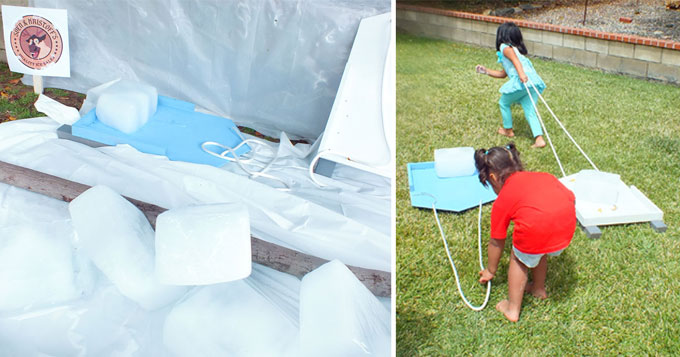 Frozen Diy Sleds For Ice Block Races Two Sisters