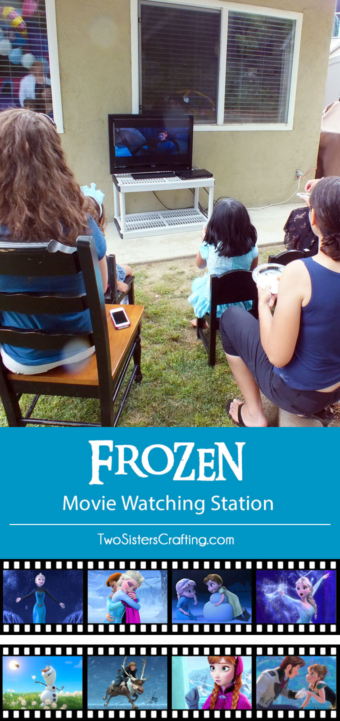 Need a fun activity for your Disney Frozen Party? Create a Frozen Movie Watching Station where party guests can enjoy Frozen throughout the party. It was one of the most popular activities at our Frozen Birthday Party. Follow us for more Frozen Party Ideas.
