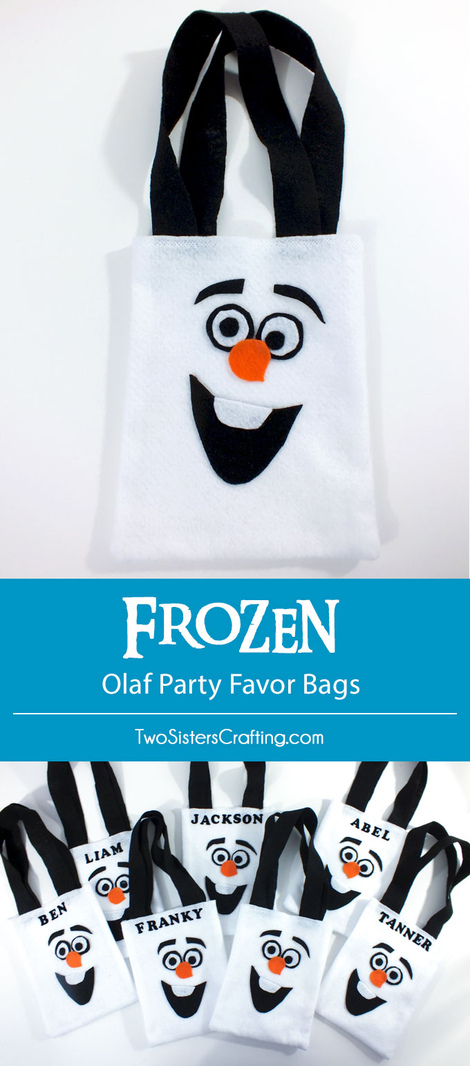Disney Frozen Olaf Party Favor Bags - so adorable and one of our favorite crafts from our Frozen Birthday Party. We gave out these fun DIY gift bags as a Party Thank You gift. The kids loved them! Follow us for more fun Frozen Party Ideas.