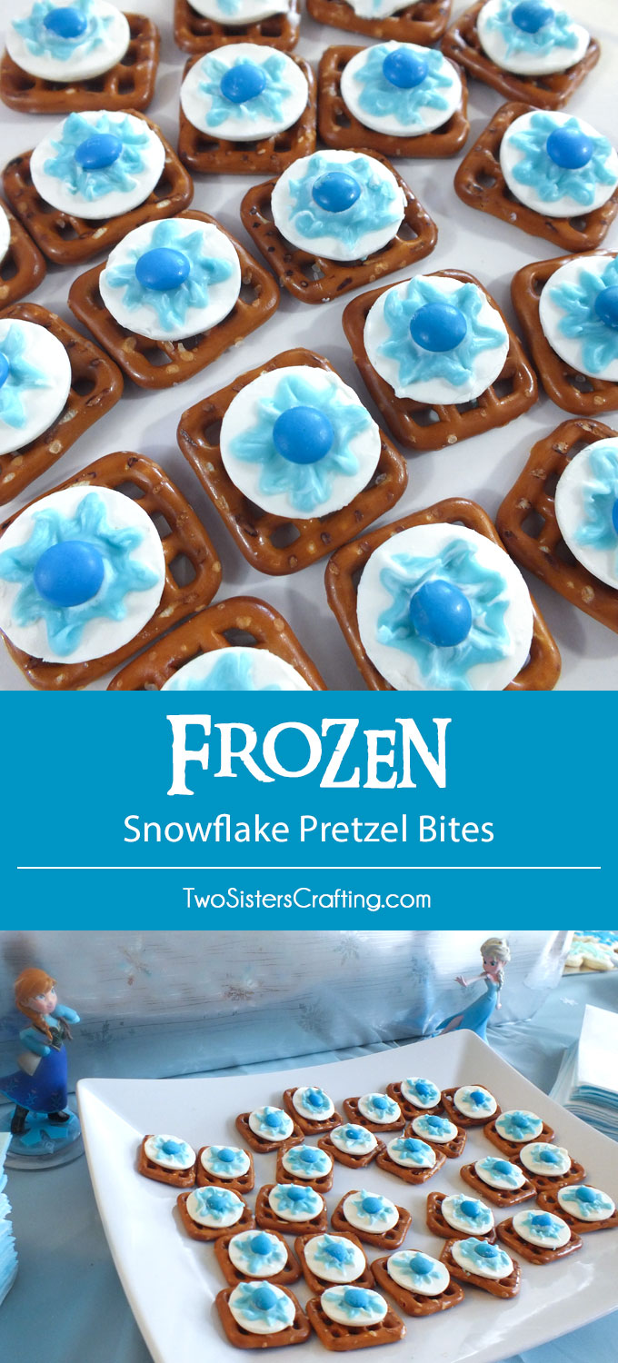 Disney Frozen Snowflake Pretzel Bites - yummy bites of sweet and salty goodness for a Disney Frozen Birthday Party. Your party guests will love this unique and delicious dessert (and you don't have to tell them how easy they are to make!) Follow us for more fun Frozen Party Ideas.