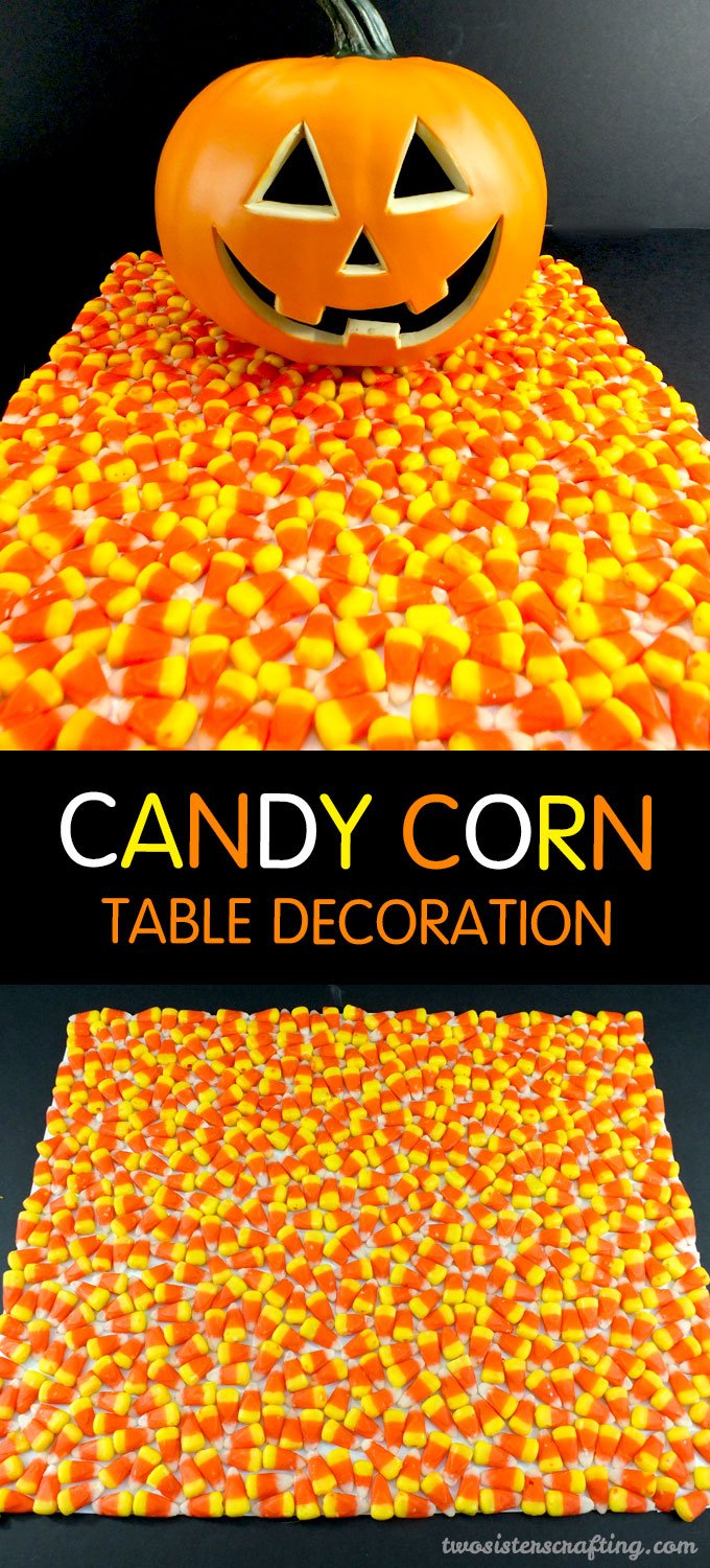 this candy corn table decoration is so easy to make and super adorable it is - Candy Corn Halloween Decorations