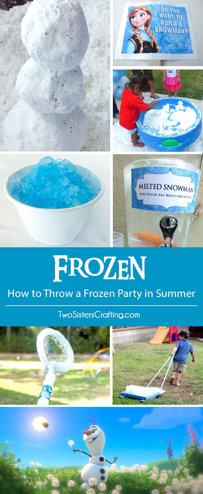 How to Throw a Frozen Party in Summer - We have some great ideas for how to throw a Disney Frozen Birhtday Party in Summer including DIY Snow, Snow Cones, Ice Block Races and more! Follow us for more fun Frozen Party Ideas.