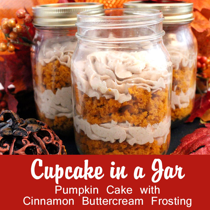 Pumpkin Cupcake in a Jar with Cinnamon Buttercream Frosting