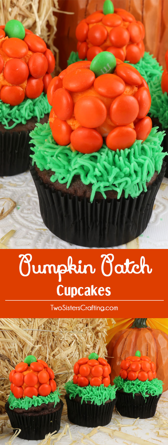 These Halloween Pumpkin Patch Cupcakes are super adorable Halloween cupcakes and very easy to make. They are a great Halloween dessert for a neighborhood party or a fun classroom Halloween treat. Pin this adorable Pumpkin dessert for later and follow us for more fun Halloween Food Ideas.
