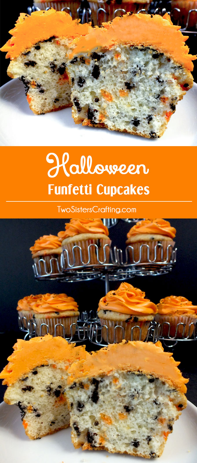 Our Easy Homemade Halloween Funfetti Cupcakes taste so great and are a festive addition to any Halloween Party. Forget about store-bought Funfetti cake mix, make your own colorful sprinkle filled Halloween Cupcakes. Pin this Halloween Dessert for later and follow us for more fun Halloween Food Ideas.