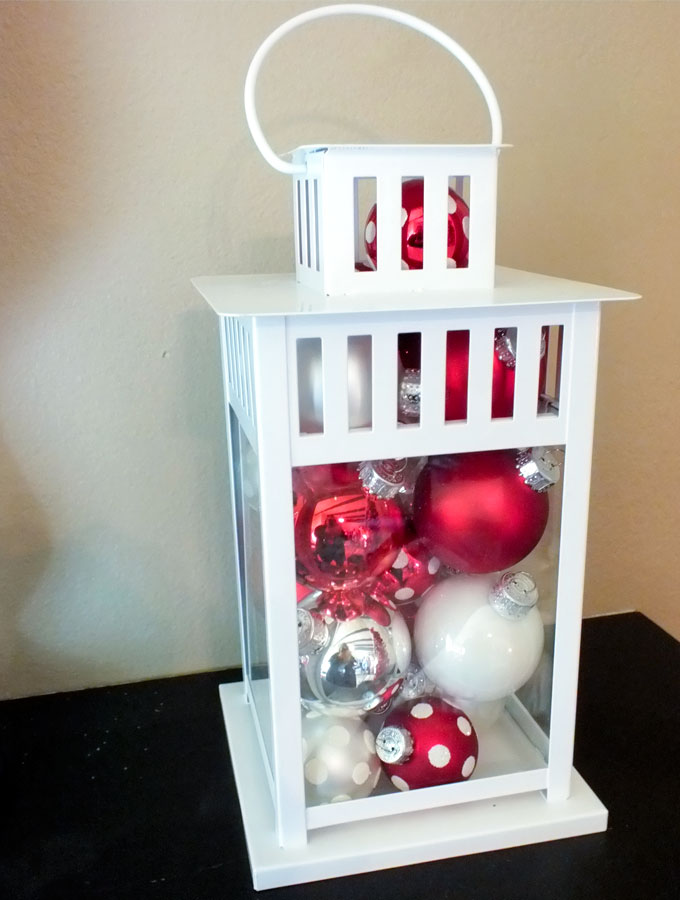 lantern filled with christmas ornaments - Christmas Decorations For Small Spaces