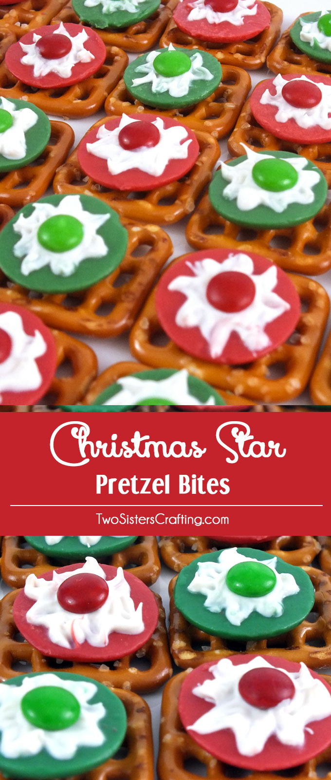 These Christmas Star Pretzel Bites make great Christmas Treats. Sweet, salty, crunchy and delicious they will be one of your favorite Christmas Desserts. Follow us for more Christmas Food ideas.