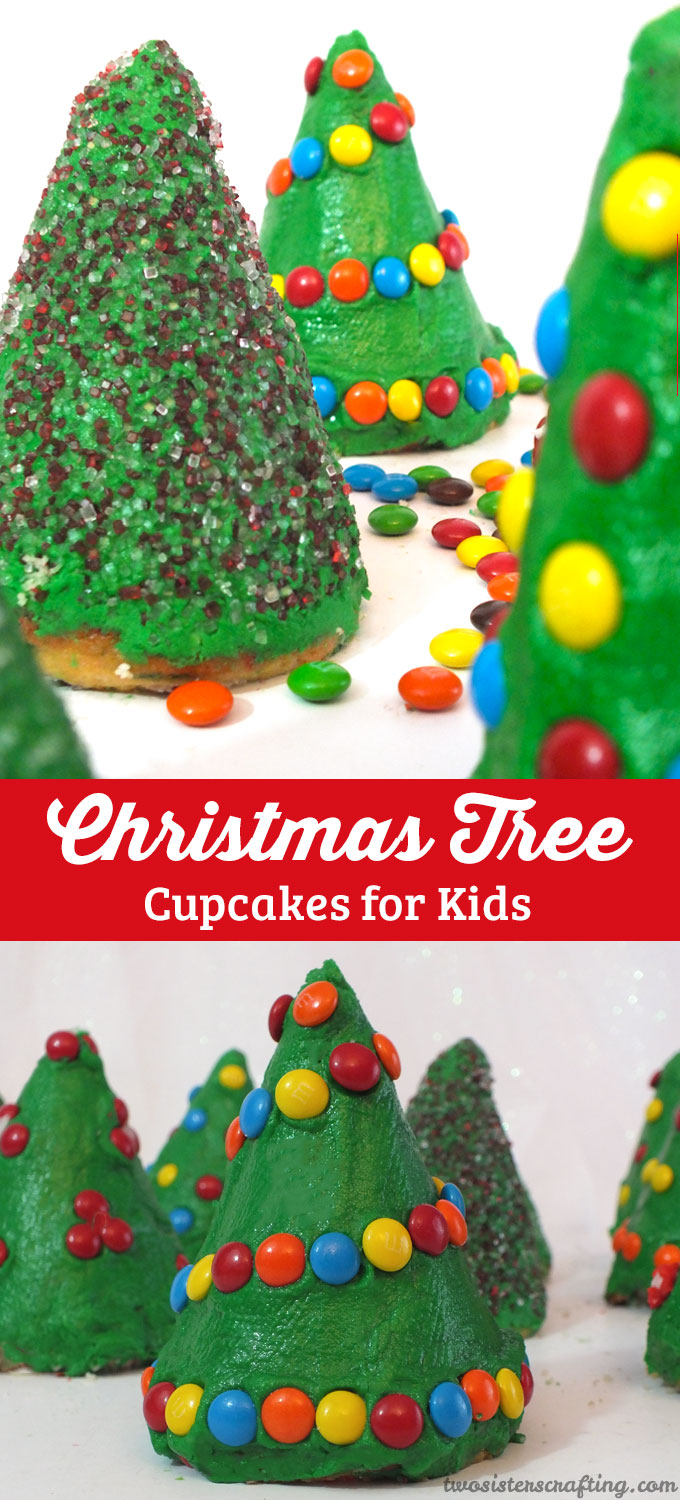 Christmas Tree Cupcakes for Kids - Two Sisters