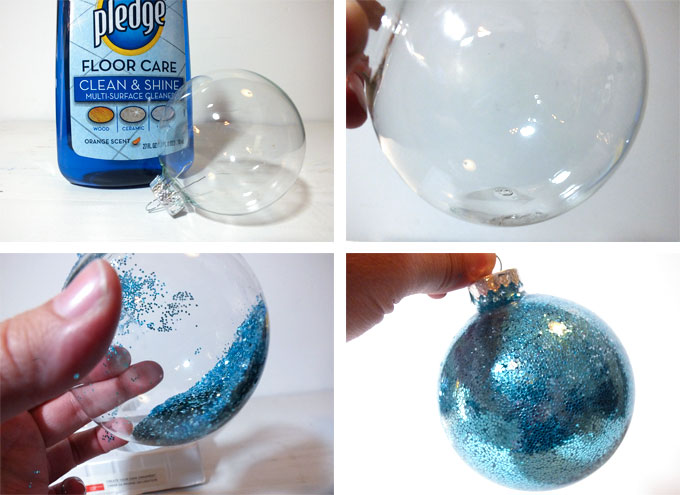 how to glitter the inside of a christmas ornament - Elsa Christmas Decoration