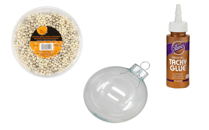Supplies for DIY Pearl Christmas Tree Ornaments