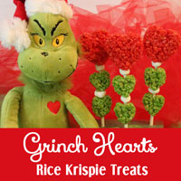 Grinch Hearts Rice Krispie Treats