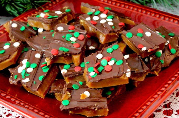 Homemade English Toffee is one of our favorite Christmas Desserts. It's so delicious and so easy to make. (You won't need a candy thermometer to make this great Christmas Treat!) It will become an instant family favorite and also makes a great DIY Christmas Gift. Follow us for more fun Christmas Food ideas.