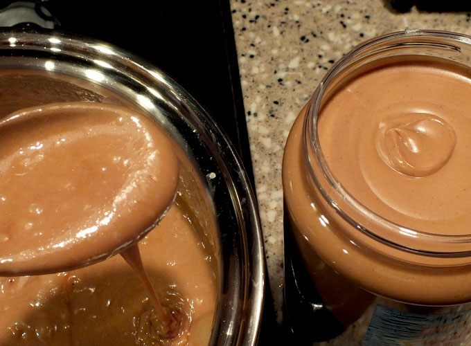 Homemade English Toffee mixture - the color of peanut butter