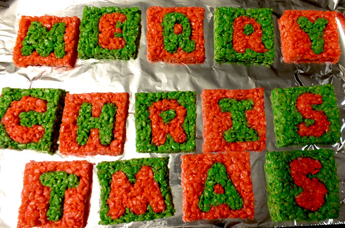 Merry Christmas spelled out in Rice Krispie Treats
