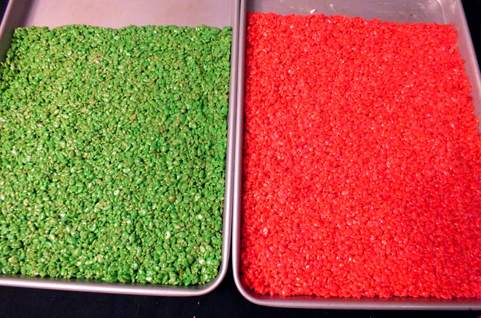 Pans of red and green Rice Krispie Treats