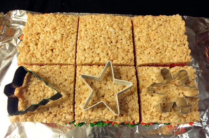 Cute the Rice Krispie Treats into squares
