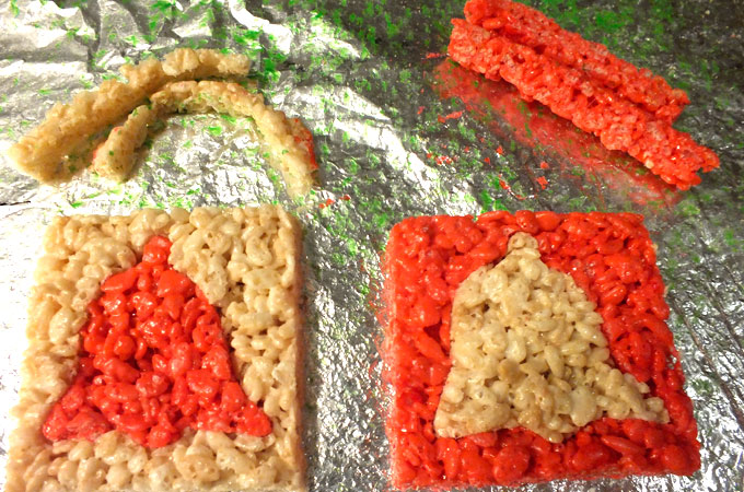 Trim the sides of the Merry Christmas Rice Krispie Treats