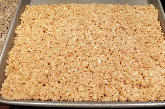 A pan of Rice Krispie Treats