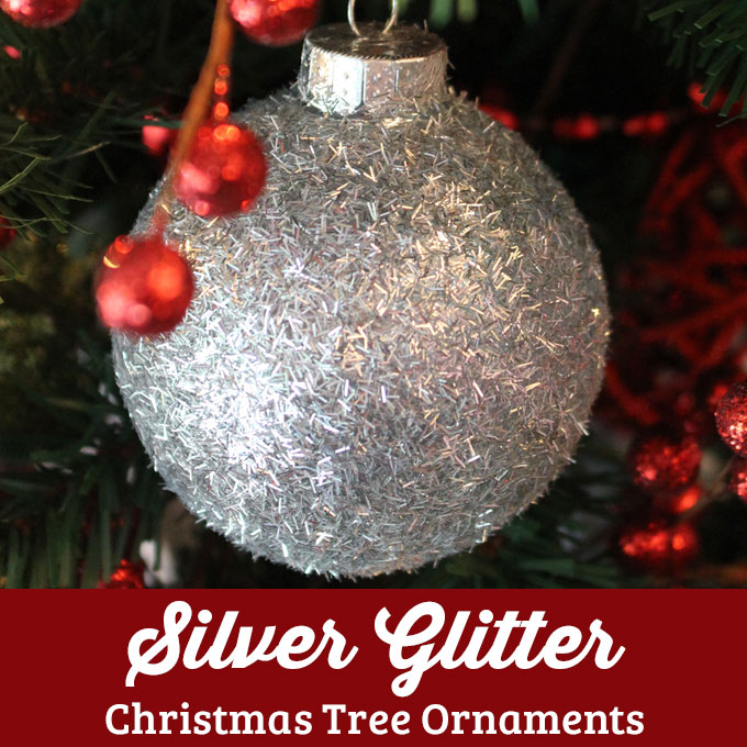 DIY Silver Glitter Christmas Tree Ornaments - Two Sisters ...