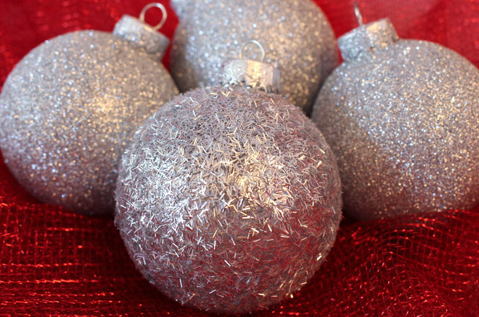 Silver Glitter Christmas Tree Ornaments are a great Christmas craft  project. These handmade Christmas Ornaments - Silver Glitter Christmas Tree Ornaments - Two Sisters