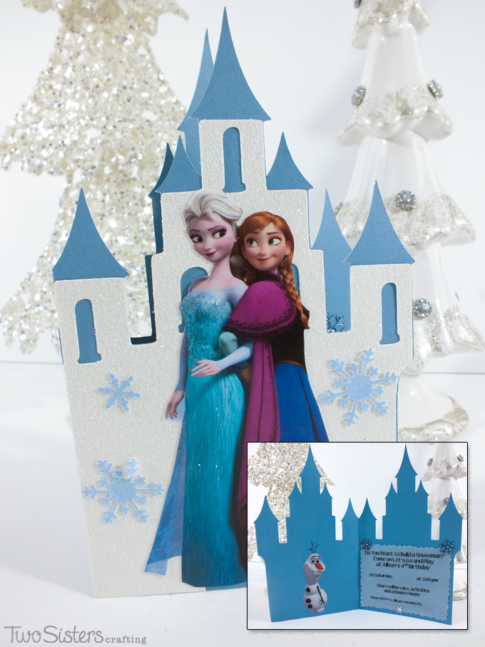 DIY Frozen Birthday Party Invitations Made With A Cricut Scrapbook Paper And Print Outs