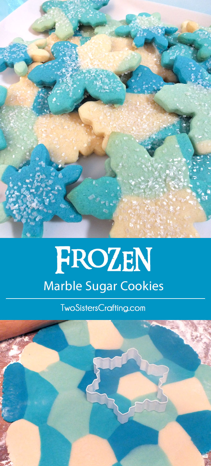 Everyone at your Frozen Birthday Party will love these Frozen Marble Sugar Cookies. So pretty, so sparkly, so delicious ... they are the perfect Frozen party treat and will look lovely on your Frozen Dessert Table. Follow us for more great Frozen Party Ideas.