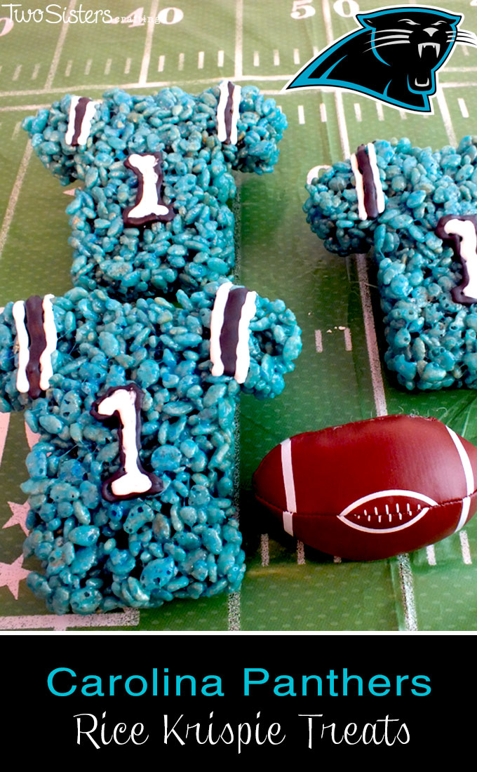 Carolina Panthers Rice Krispie Treats - Two Sisters Crafting