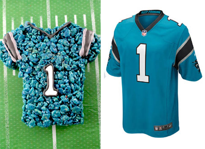 Carolina Panthers Rice Krispie Treat vs. an actual Carolina Panthers Jersey