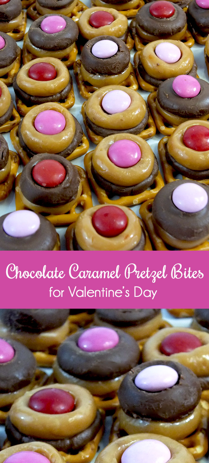 Chocolate Caramel Pretzel Bites for Valentine's Day are a yummy Valentine's Day Treat that is sure to please. This easy to make Valentine's Day Dessert will be that special someone's new favorite sweet and salty candy snack! Follow us for more great Valentine's Day Food Ideas.