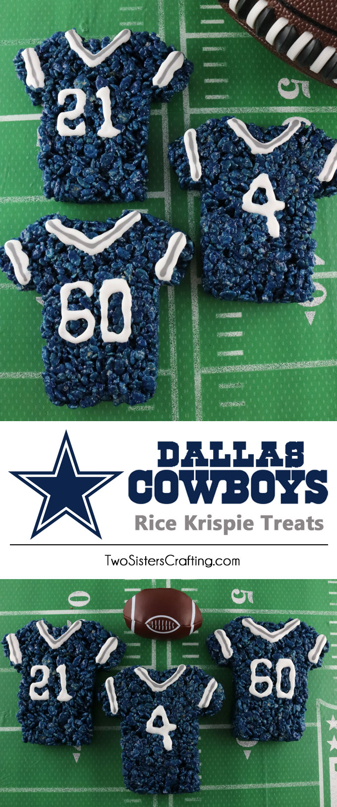 These Dallas Cowboys Rice Krispie Treats Team Jerseys are a fun football dessert for a game day football party, an NFL playoff party, a Super Bowl party or as a special snack for the Dallas Cowboys fans in your life. Go Cowboys! And follow us for more fun Super Bowl Food Ideas.