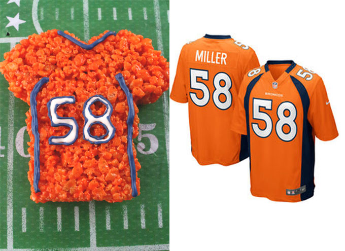 Denver Broncos Rice Krispie Treat vs. an actual Denver Broncos Jersey