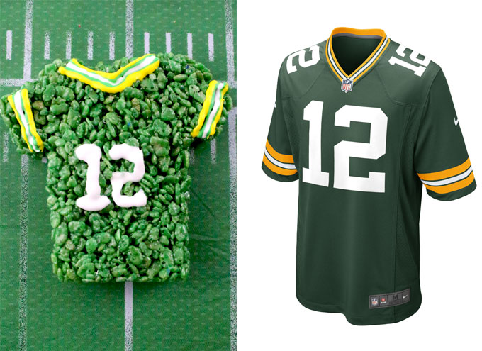 Green Bay Packers Rice Krispie Treat vs. an actual Green Bay Packers Jersey