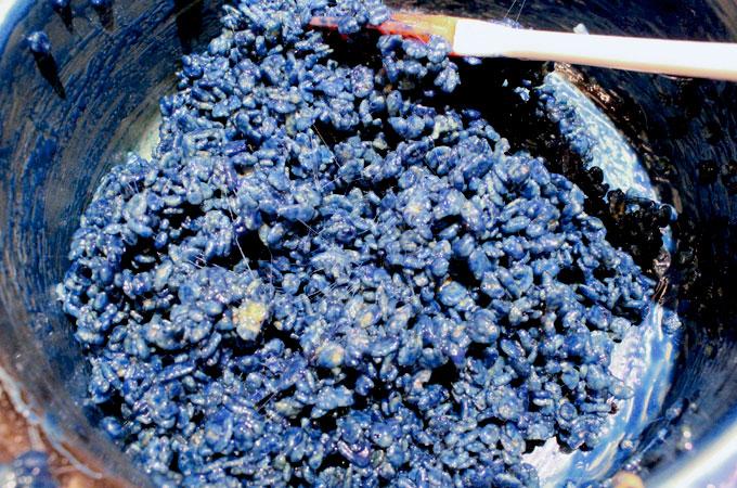Blue Rice Krispie Treats mixture