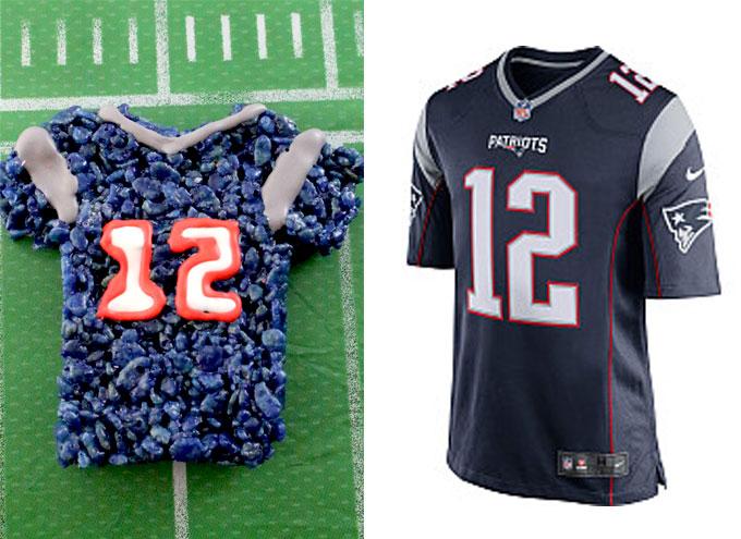 New England Patriots Rice Krispie Treat vs. an actual New England Patriots Jersey