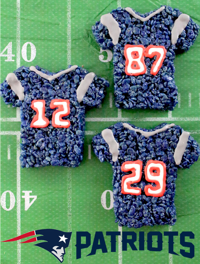 4c8b2afcb45 These New England Patriots Rice Krispie Treats Team Jerseys are a fun  football dessert for a