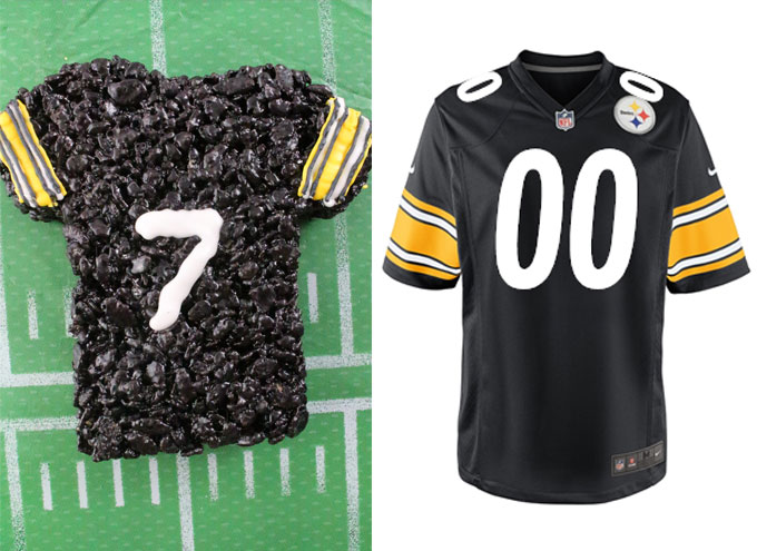 Pittsburgh Steelers Rice Krispie Treat vs. an actual Pittsburgh Steelers Jersey