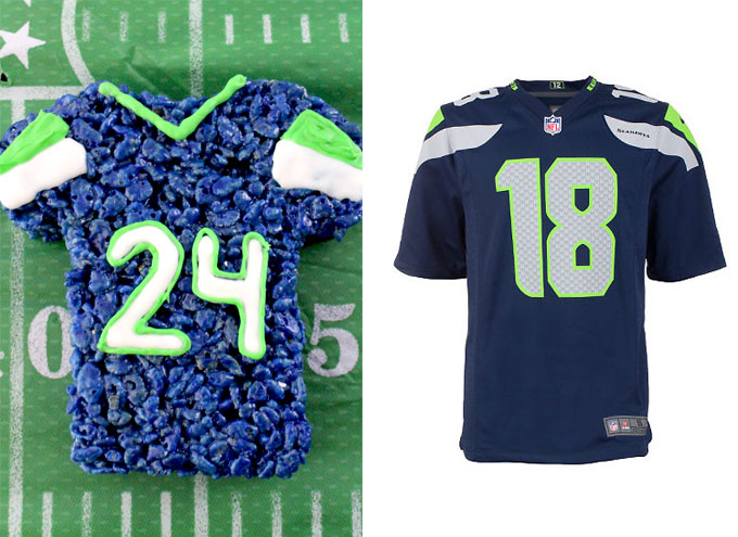 Seattle Seahawks Rice Krispie Treat vs. an actual Seattle Seahawks Jersey