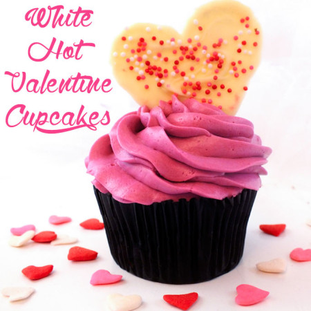 White Hot Valentine Cupcakes