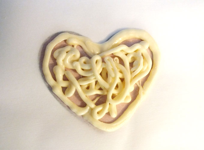 Fill in heart with White Chocolate