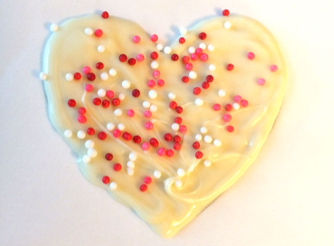 Add Sprinkles to White Chocolate Heart
