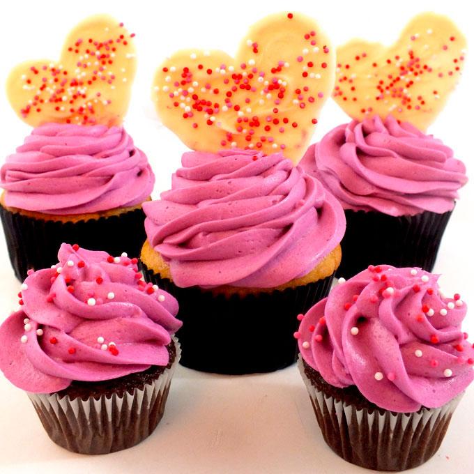 White Hot Valentine Cupcakes