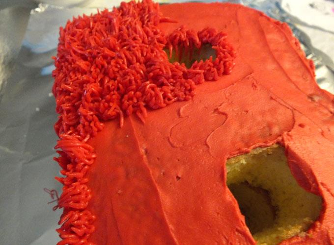 Adding fur to our ABC Sesame Street Cakes