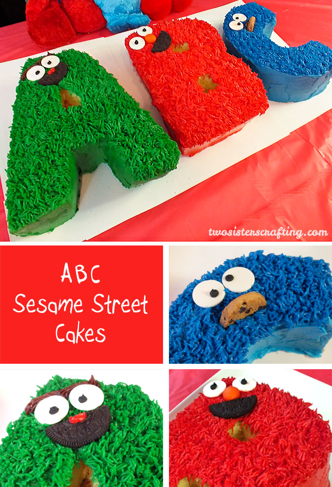 Our ABC Sesame Street Cakes will be the perfect Birthday Cakes for your Sesame Street Birthday Party. So cute and so easy to make and you don't need any special pans to make them! Follow us for more fun Sesame Street Party Ideas.