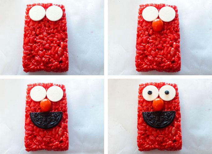 Elmo face on Elmo Rice Krispie Treats