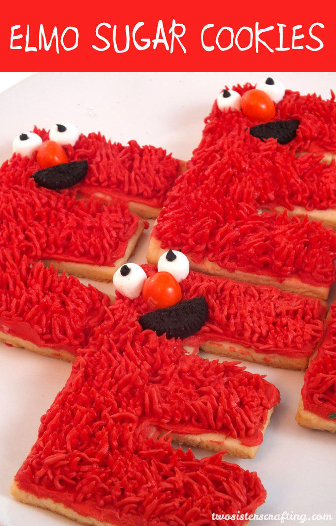 These Elmo Sugar Cookies are the perfect dessert for an Elmo Birthday Party or a Sesame Street Birthday Party. Kids will love them and they are easier to make then you might think. We have all the directions you'll need here. Follow us for more fun Sesame Street Party Ideas.