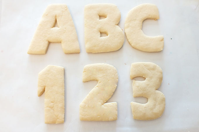 Baked ABC and 123 sugar cookies