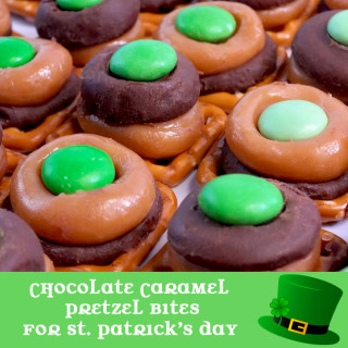 Chocolate Caramel Pretzel Bites for St. Patrick's Day