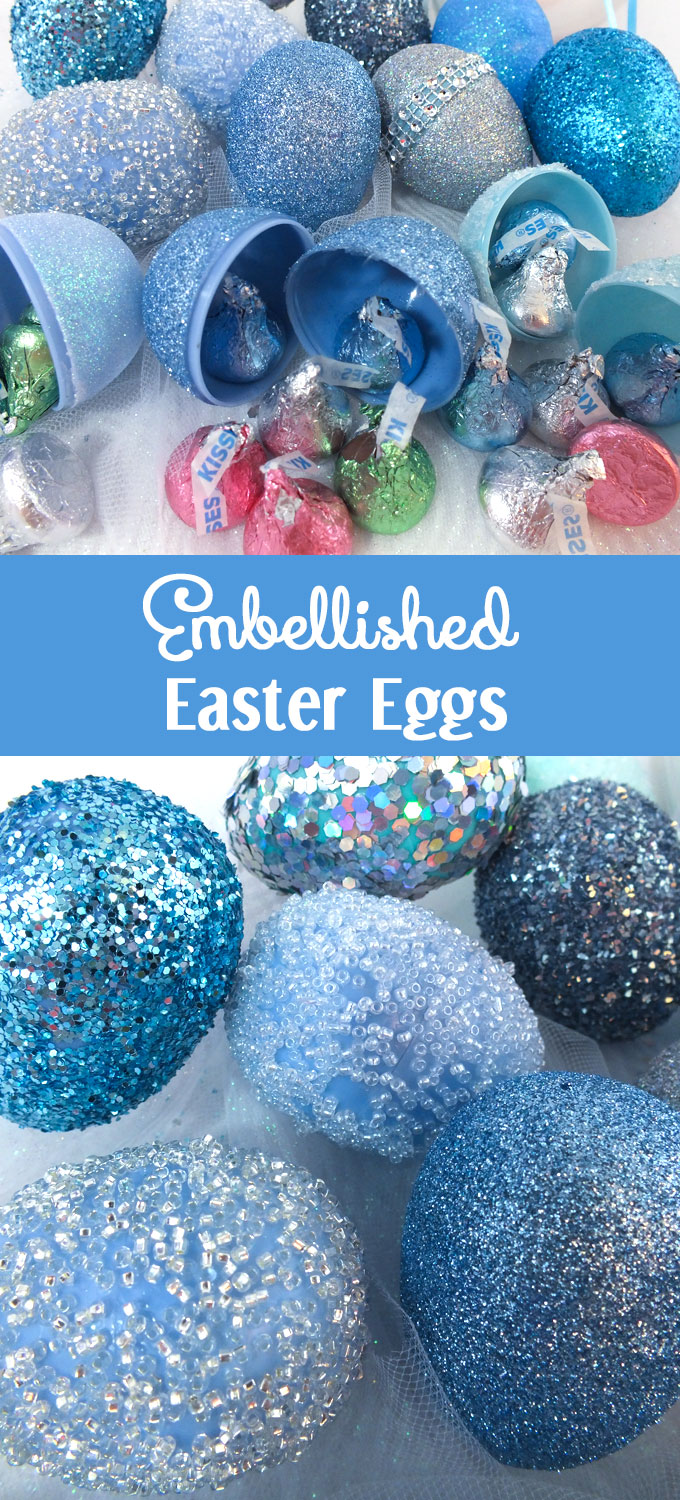 Take plastic Easter Eggs from Plain to Spectacular with our Embellished Easter Eggs tutorial. So easy to do and they will be your favorite Easter decorations. And don't forget to follow us for more great Easter Craft ideas.