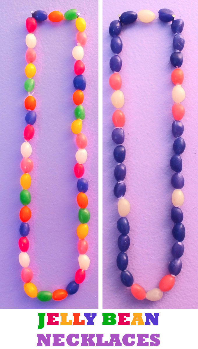 Jelly Bean Easter Necklaces - Looking for a fun Easter Craft? How about Jelly Bean Necklaces? So easy to make and so cute to wear (and eat! ) Pin this adorable Easter Decoration for later and follow us for more great Easter Craft ideas!
