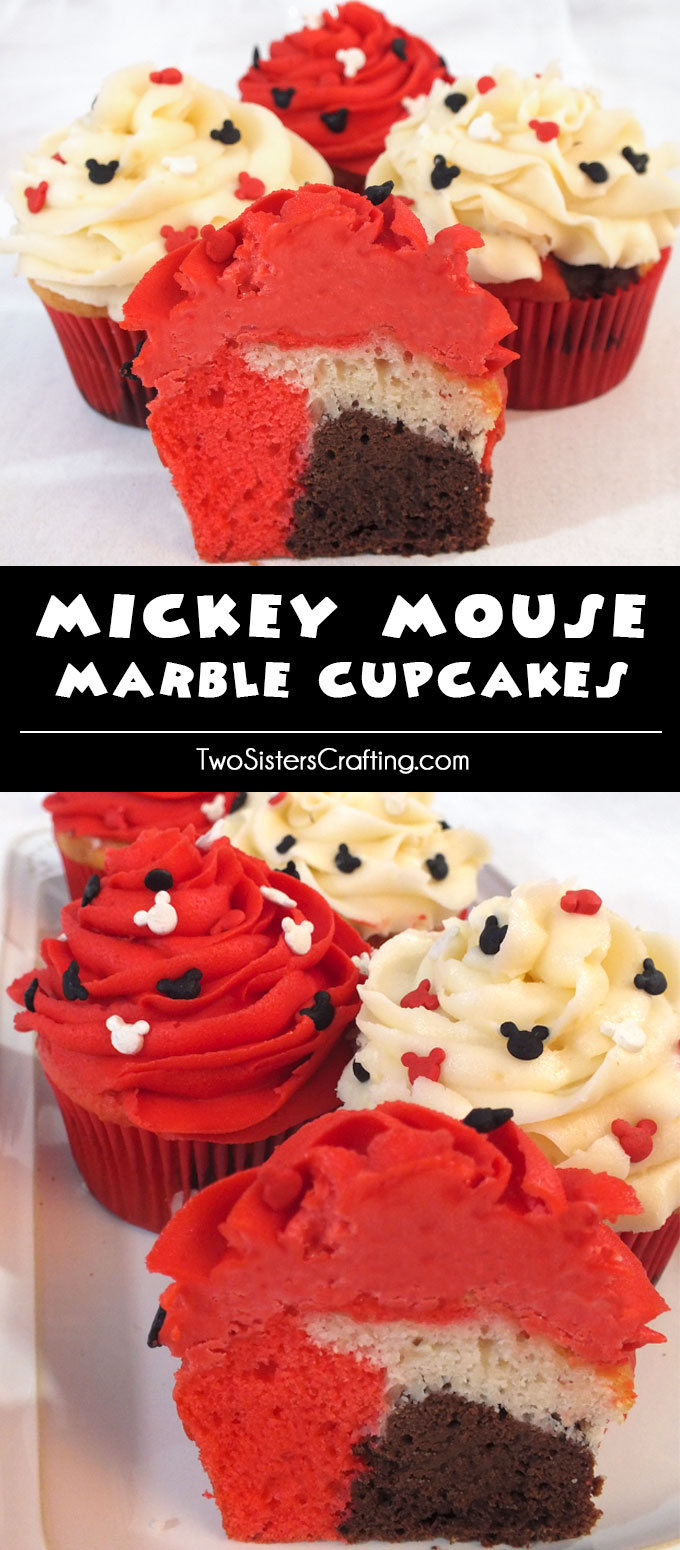 Mickey Mouse Marble Cupcakes - a beautiful cupcake for your Mickey Mouse Party. Mickey Mouse Cupcakes never looked so good or were so easy to make. Follow us for more fun Mickey Mouse Party Ideas.